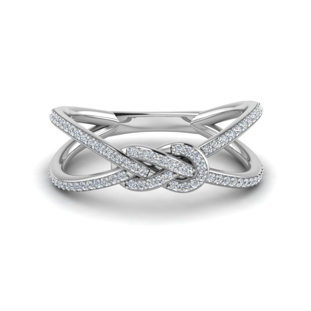 Love Knot Diamond Double Split Band In 14K White Gold