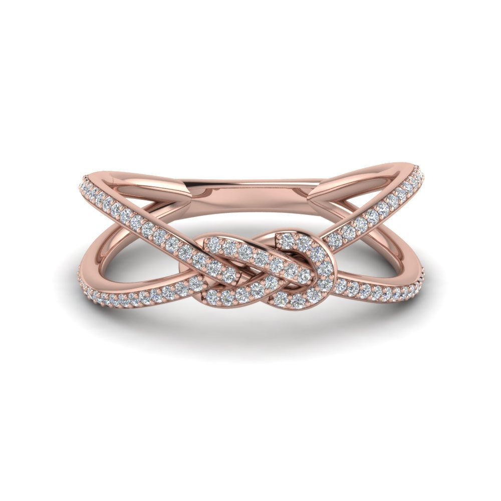 Love Knot Diamond Promise Ring In 14K Rose Gold