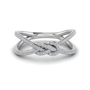 Love Knot Diamond Promise Ring In 14K White Gold