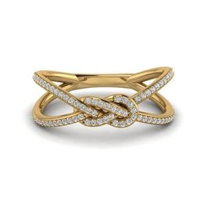 Love Knot Diamond Promise Ring In 14K Yellow Gold