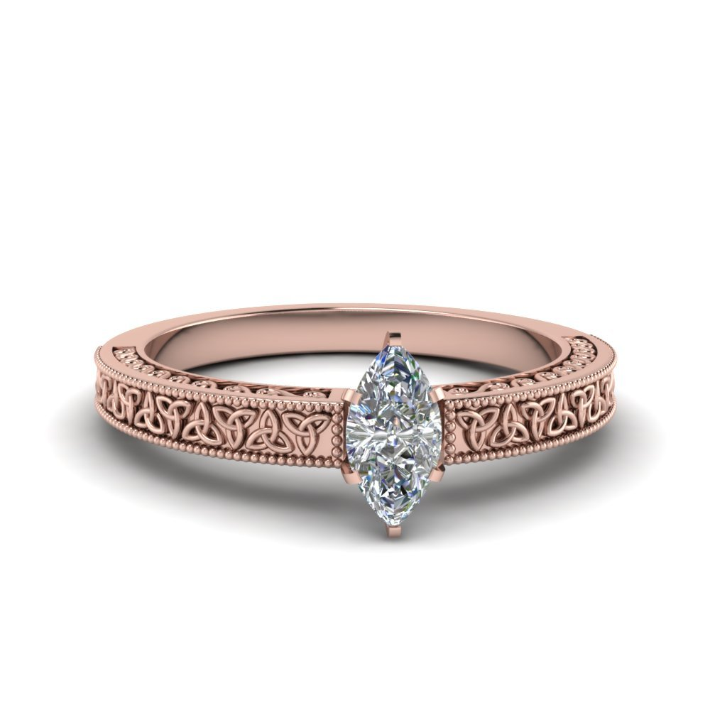 Marquise Cut Celtic Engraved Solitaire Ring In 18K Rose Gold