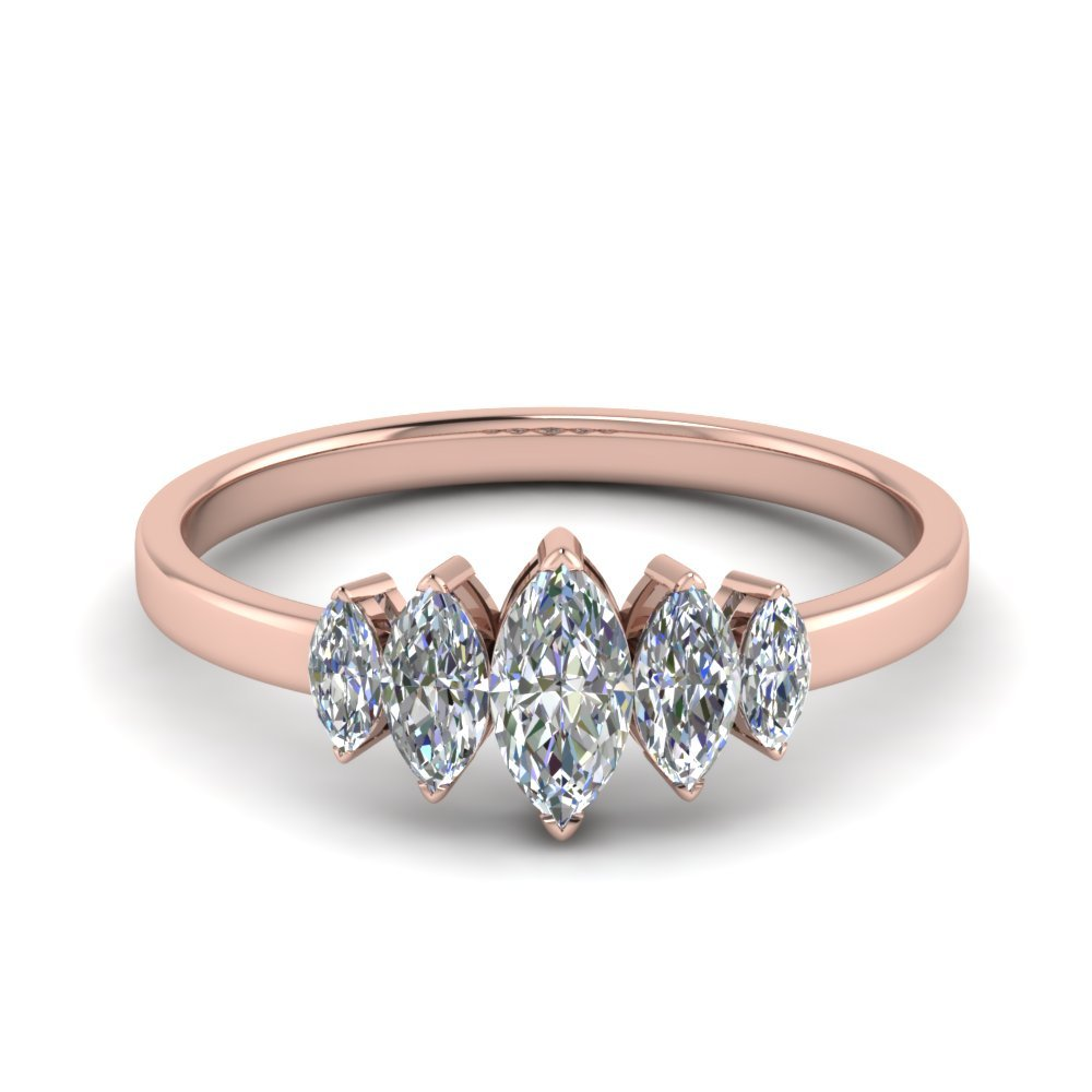 Marquise 5 Stone Wedding Ring 0.5 Ct.