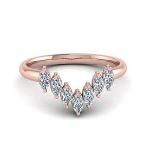 Marquise 7 Stone Curved Wedding Band In 14K Rose Gold