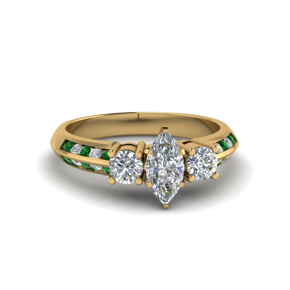 Gold Emerald Marquise Diamond Ring