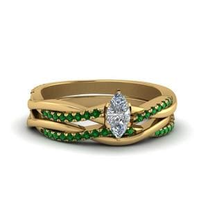 Emerald Twist Wedding Set
