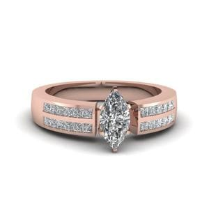 Marquise Cut Accent Channel Set Engagement Ring In 14K Rose Gold