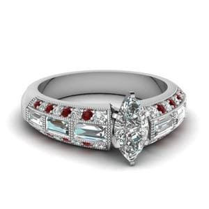 Antique Baguette Marquise Diamond Engagement Ring With Ruby In 18K White Gold