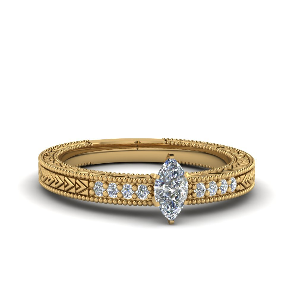 Marquise Cut Antique Design Pave Diamond Engagement Ring In 14K Yellow Gold