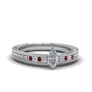 Marquise Cut Antique Design Pave Diamond Engagement Ring With Ruby In 14K White Gold