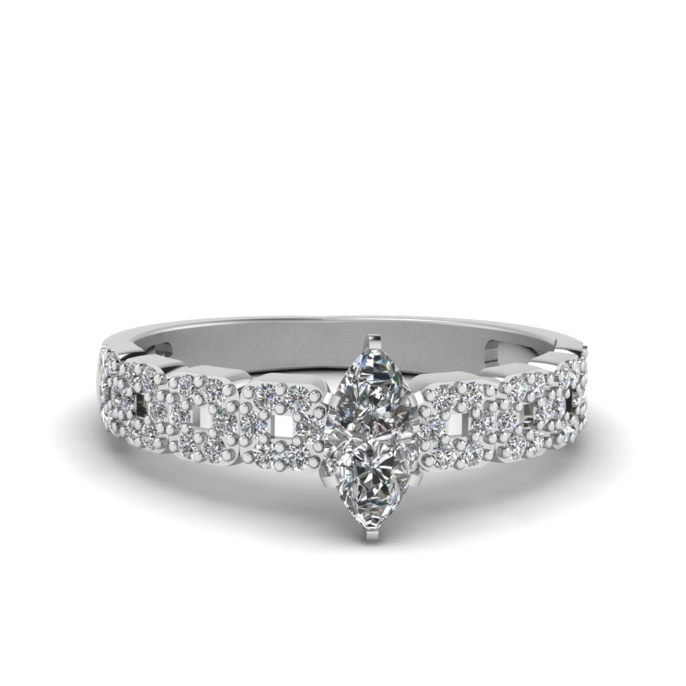 Marquise Cut Antique Diamond Engagement Ring For Women In 18K White Gold
