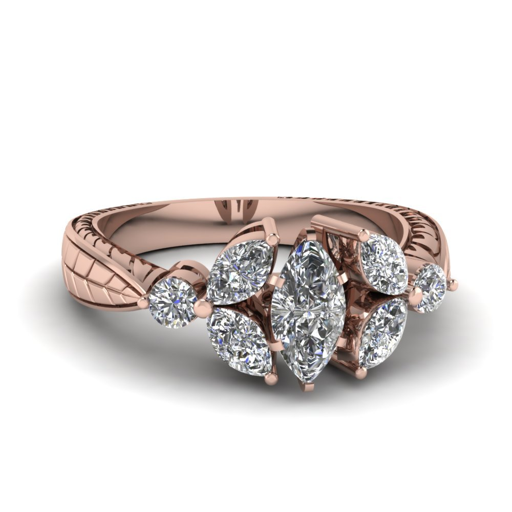 Trellis Round Bud Diamond Engagement Ring