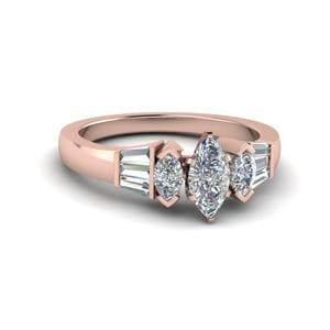 Baguette Bar And Marquise Diamond Engagement Ring In 14K Rose Gold
