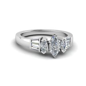 Marquise Diamond Baguette Ring