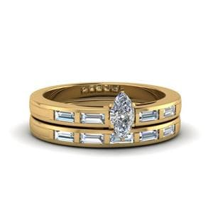 Marquise Cut Bar Baguette Diamond Simple Wedding Ring Set In 18K Yellow Gold
