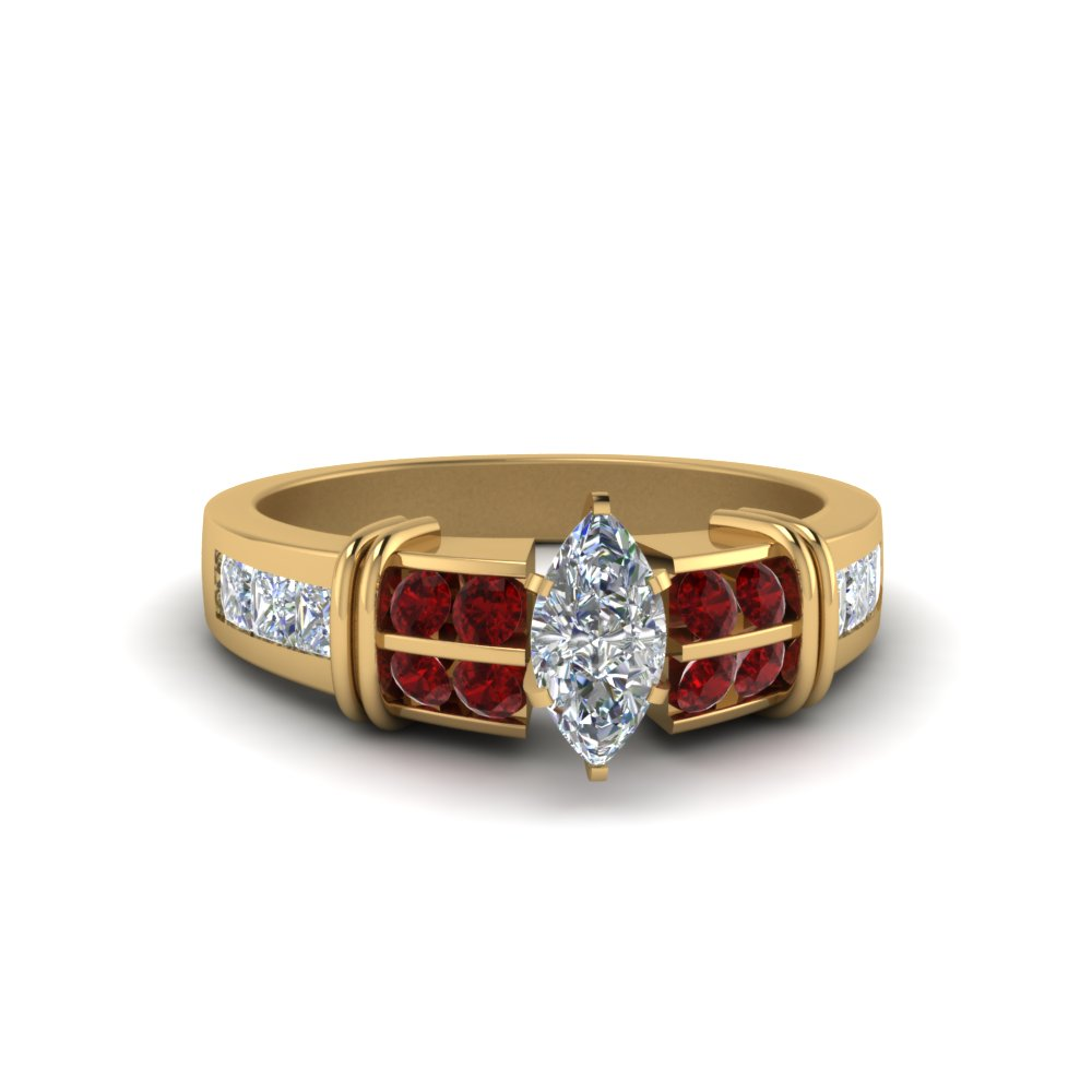 Marquise Cut Bar Channel Set Wide Diamond Ring With Ruby In 18K Yellow Gold