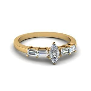 Marquise Cut Basket Prong Baguette Diamond Engagement Ring In 18K Yellow Gold