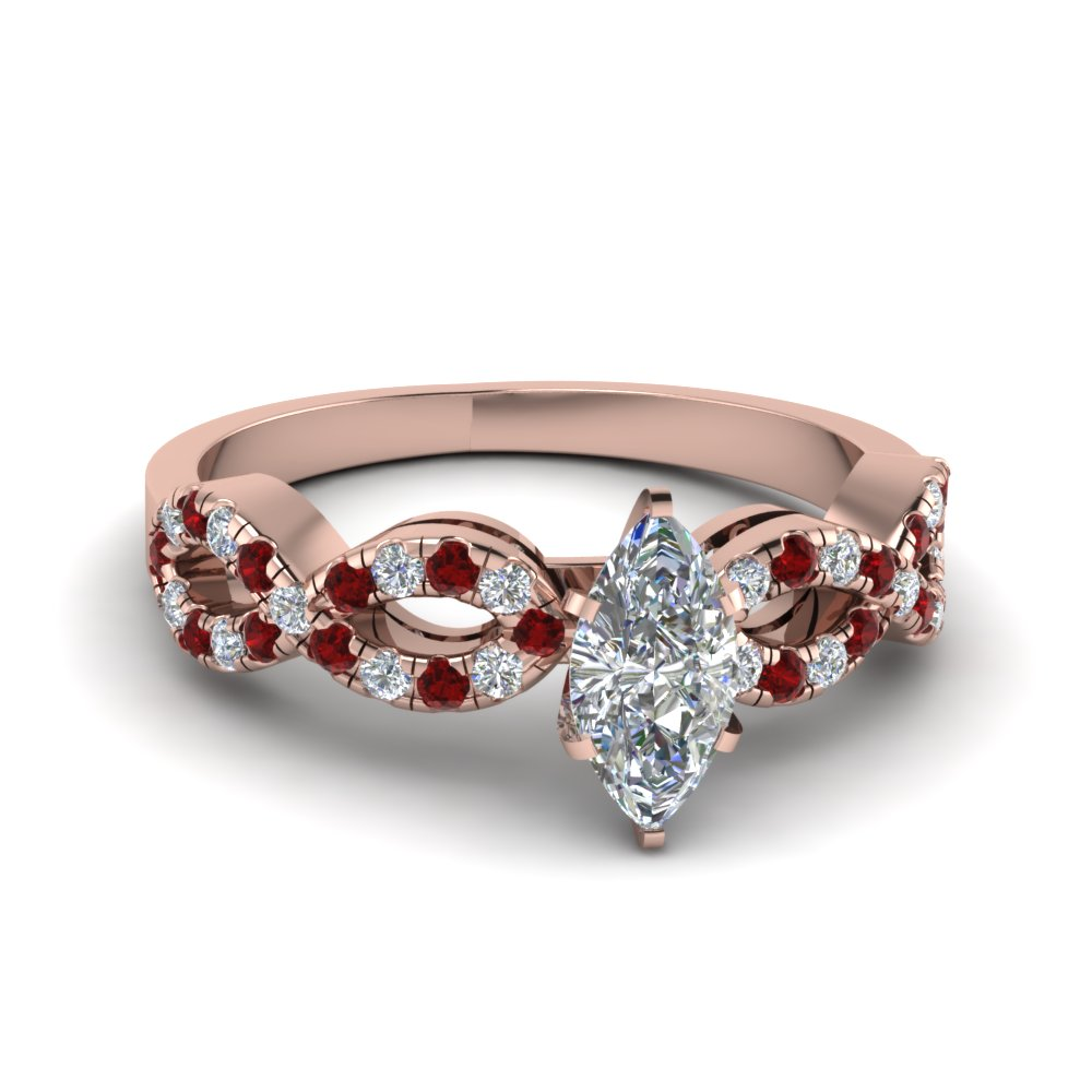 Marquise Shaped Braided Diamond Engagement Ring With Ruby In 18K Rose Gold