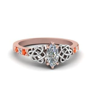 Marquise Shaped Topaz Celtic Diamond Ring