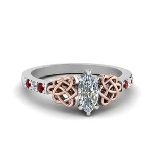 Ruby Side Stone Celtic Diamond Ring