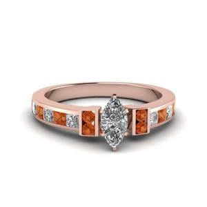 Marquise Cut Channel Bar Set Diamond Engagement Ring For Women With Orange Sapphire In 18K Rose Gold