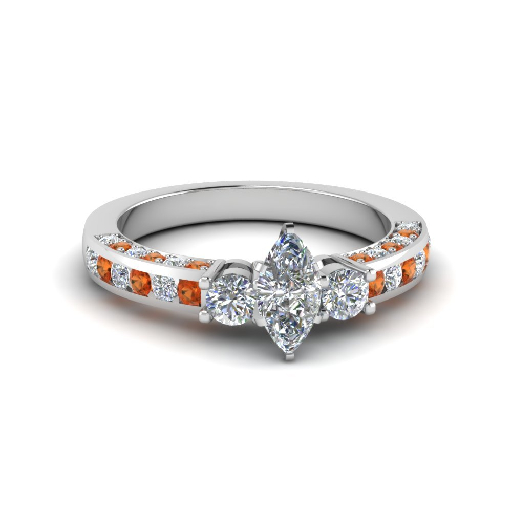 Channel Set 3 Stone Diamond Ring