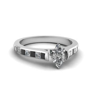 Marquise Cut Cathedral Channel Set Engagement Ring With Black Diamond In 18K White Gold