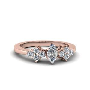 Marquise Cut Diamond Accented Curved Engagement Ring In 18K Rose Gold