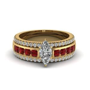 Trio Bridal Set With Ruby