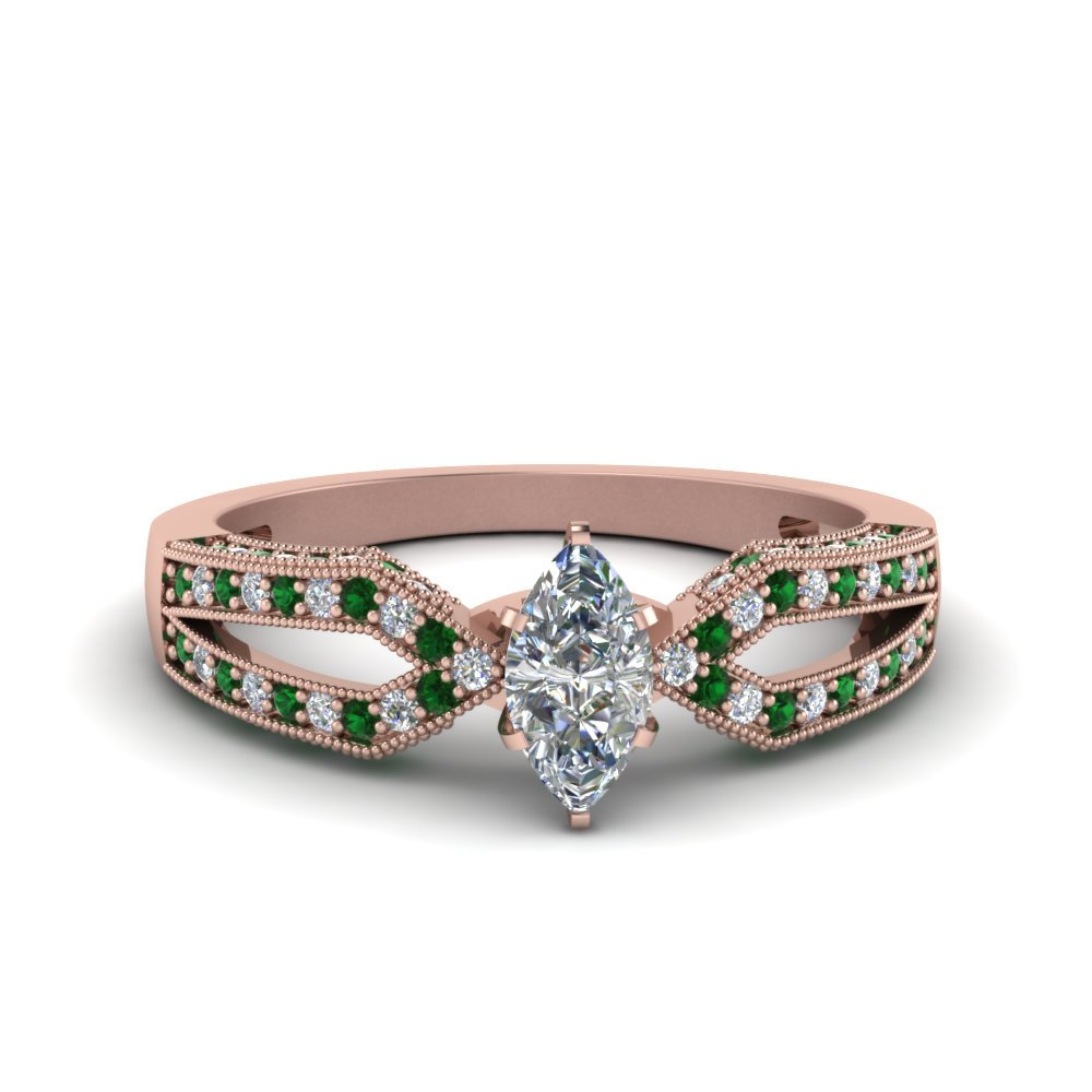 Antique Split Pave Marquise Cut Diamond Engagement Ring With Emerald In 18K Rose Gold