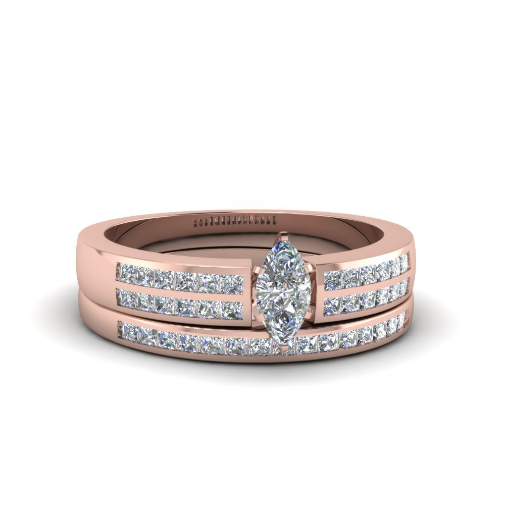 Marquise Cut Double Row Channel Diamond Wide Bridal Set In 18K Rose Gold