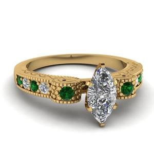 Engraved Antique Pave Marquise Cut Diamond Engagement Ring With Emerald In 18K Yellow Gold
