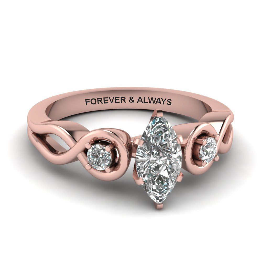 Marquise Shaped Engraved Three Stone Diamond Engagement Ring In 14K Rose Gold