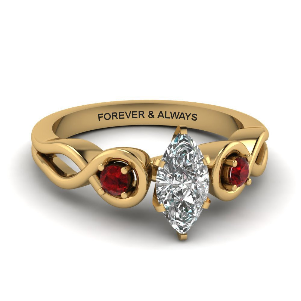 Marquise Shaped Engraved Three Stone Diamond Engagement Ring With Red Ruby In 18K Yellow Gold