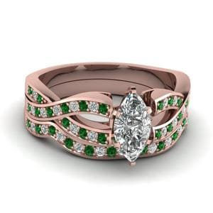 Marquise Cut Entwined Pave Diamond Bridal Set With Emerald In 18K Rose Gold