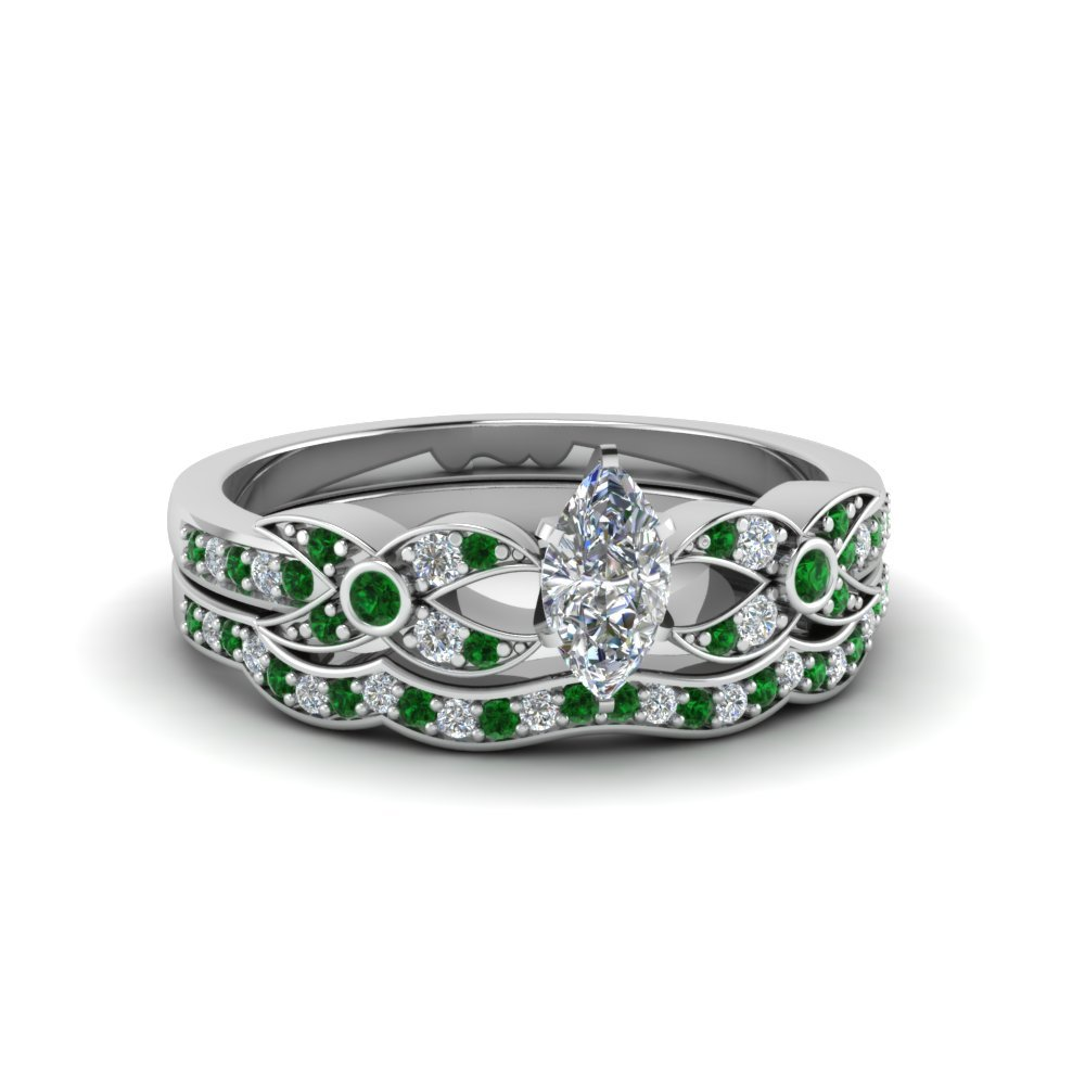 Flower Pave Emerald Wedding Set