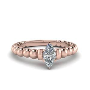 Marquise Cut Gold Bead Solitaire Diamond Engagement Ring With Ruby In 18K Rose Gold