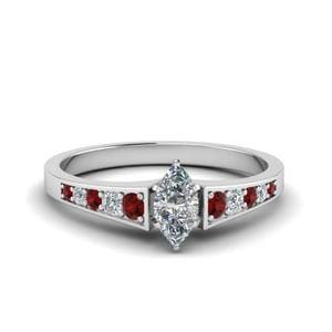 Marquise Shaped Ruby Diamond Ring