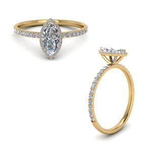 Marquise Cut Halo Diamond Engagement Ring In 14K Yellow Gold