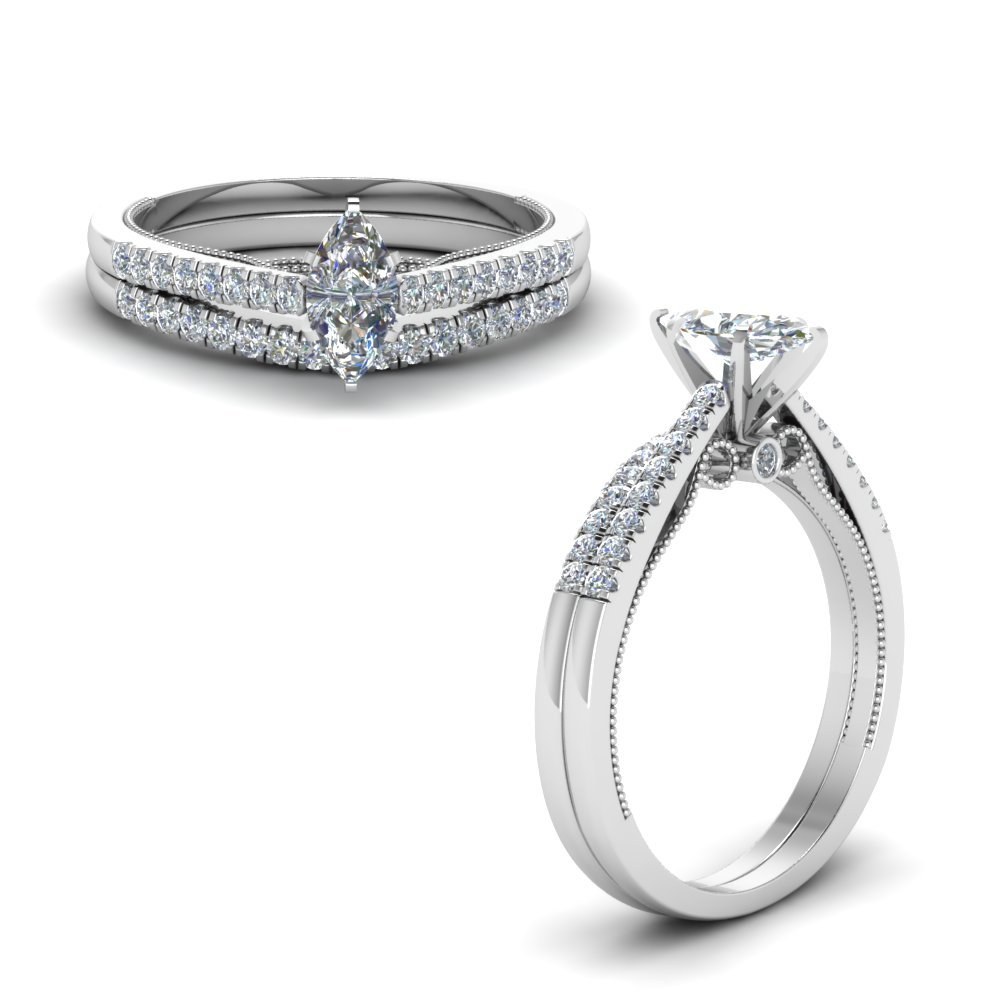 Marquise Cut High Set Ring And Band