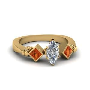 Marquise Cut Kite Bar Set 3 Diamond Engagement Ring With Orange Sapphire In 14K Yellow Gold