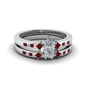 Marquise Cut Ruby Bridal Set