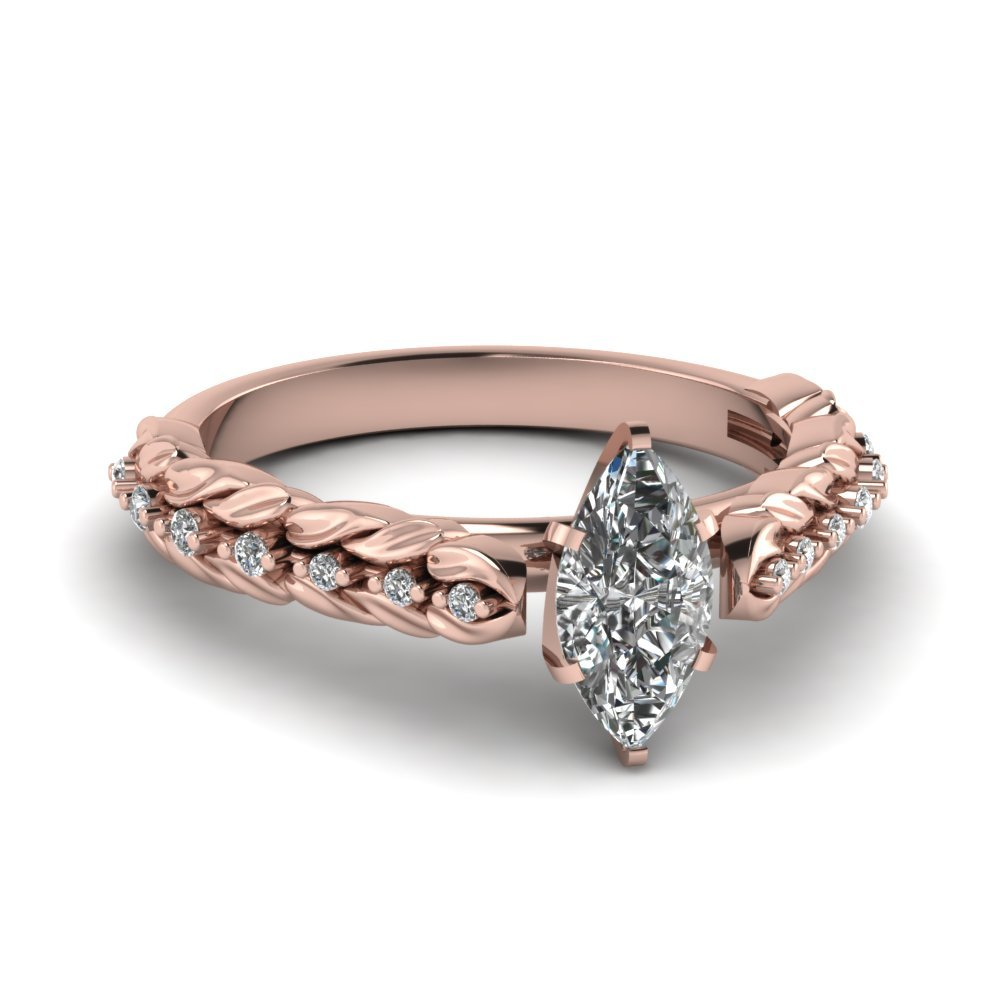 Leaf Design Marquise Cut Diamond Engagement Ring In 18K Rose Gold