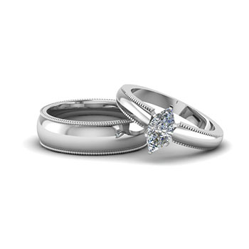 0.50 Ct. Marquise Cut Couples Wedding Sets