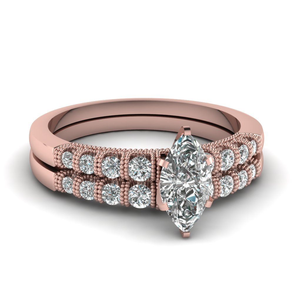 Marquise Cut Milgrain Bar Set Diamond Wedding Ring Set In 14K Rose Gold