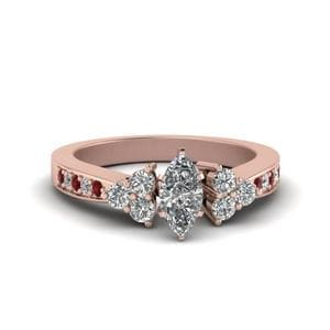 Pave Cluster Accent Petite Engagement Ring