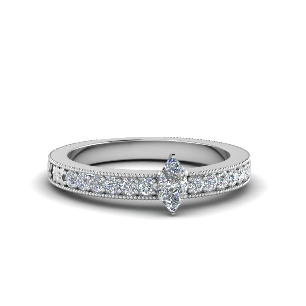 Marquise Cut Milgrain Ring