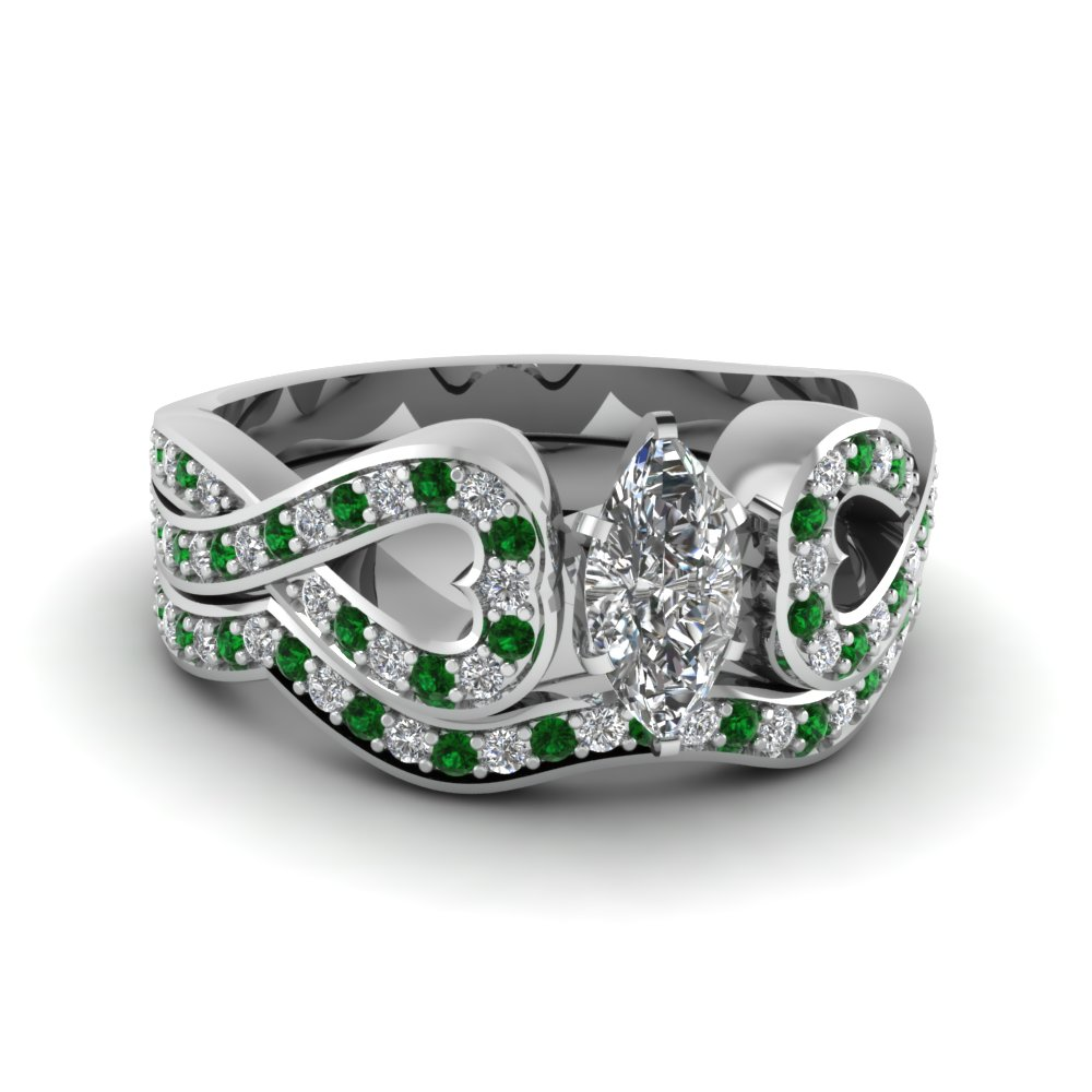 Entwined Marquise Diamond Wedding Ring Set With Emerald In 18K White Gold