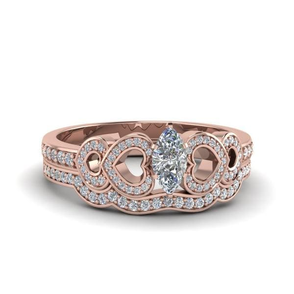 Marquise Cut Pave Heart Design Diamond Wedding Set In 14K Rose Gold