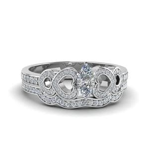 Pave Heart Design Bridal Set