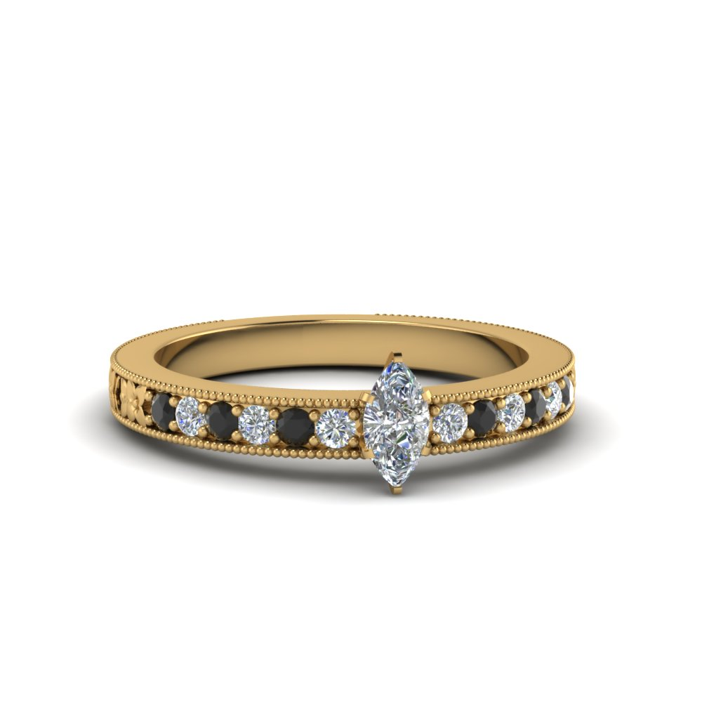 Black Diamond Yellow Gold Ring